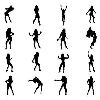 Ensemble de formes de danseuse sexy