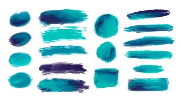 Ensemble de formes décoratives de coups de pinceau aquarelle