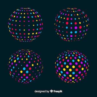 Ensemble de formes géométriques 3d de particules colorées