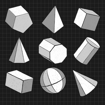 Ensemble de formes géométriques 3d