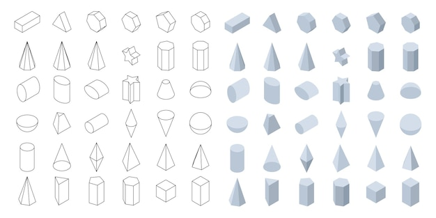 Ensemble de formes géométriques de base 3d formes isométriques pour l'école et les mathématiques