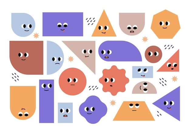 Ensemble de formes géométriques de base lumineuses avec émotions faciales différentes formes personnages mignons