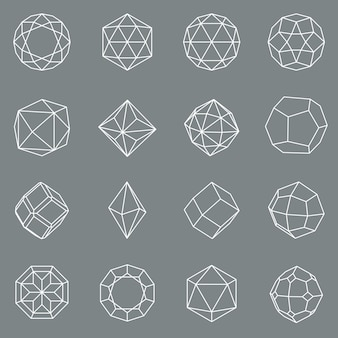 Ensemble de formes géométriques en cristal de gemme