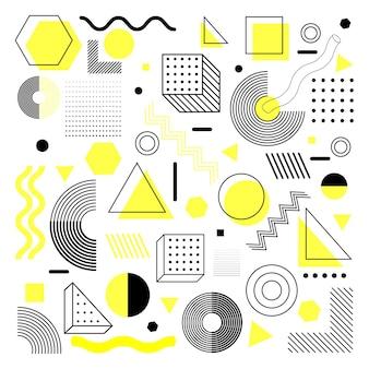 Ensemble de formes géométriques demi-teintes tendance universelle juxtaposées