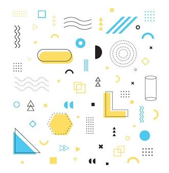 Ensemble de formes géométriques d'éléments de conception de memphis pour le panneau d'affichage de bannière de magazine de dépliant d'affiche