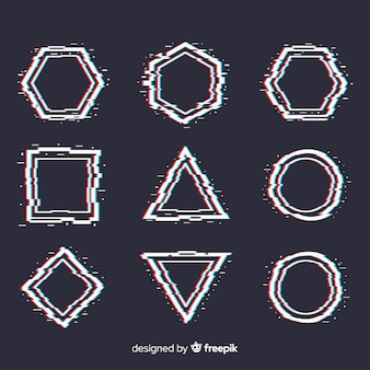 Ensemble de formes géométriques glitch