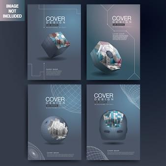 Ensemble de formes géométriques modernes 3d couverture filaire