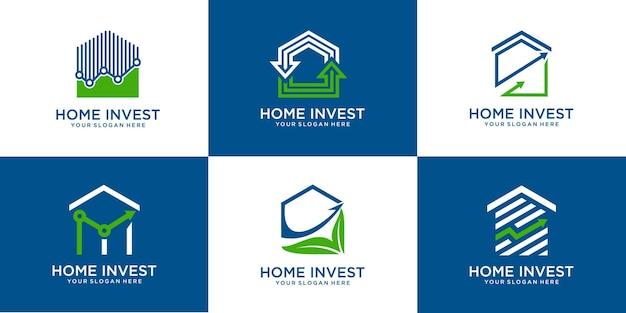 Ensemble de formes de maison et d'investissement. modèle de logo de statistiques vecteur premium