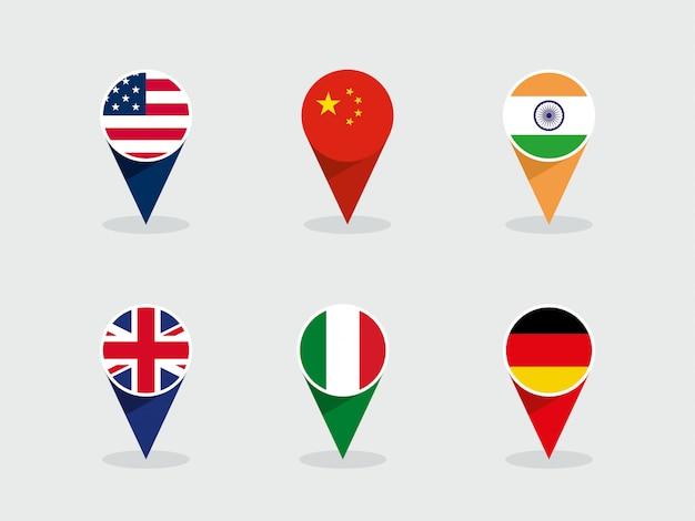 Ensemble de formes de marqueur d'étiquette ronde 3d de drapeaux nationaux