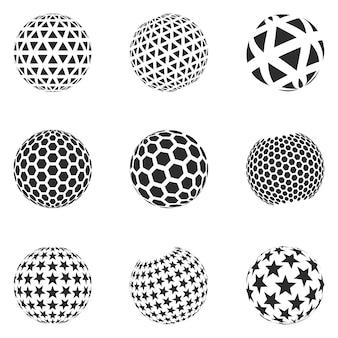 Ensemble de formes minimalistes. sphères de couleur noire demi-teintes isolés sur fond blanc