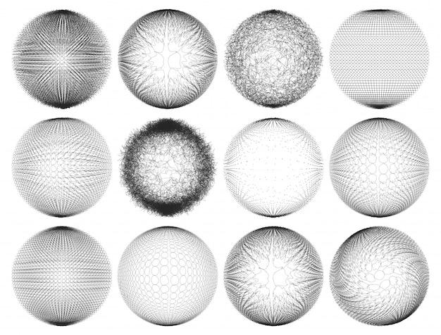 Ensemble de formes minimalistes. sphères noires demi-teintes