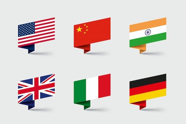 Ensemble de formes de ruban de papier plié 3d de drapeaux nationaux