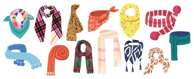 Ensemble de foulards pour hommes et femmes, différents vêtements façonnés foulards isolé sur fond blanc. accessoires de châles colorés pour temps froid, design de mode. illustration vectorielle de dessin animé