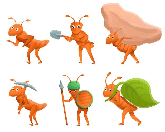 Ensemble de fourmis de dessin animé isolé sur blanc
