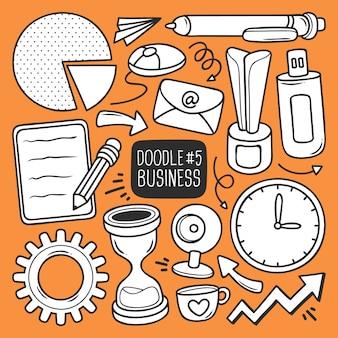 Ensemble de fournitures de bureau doodle