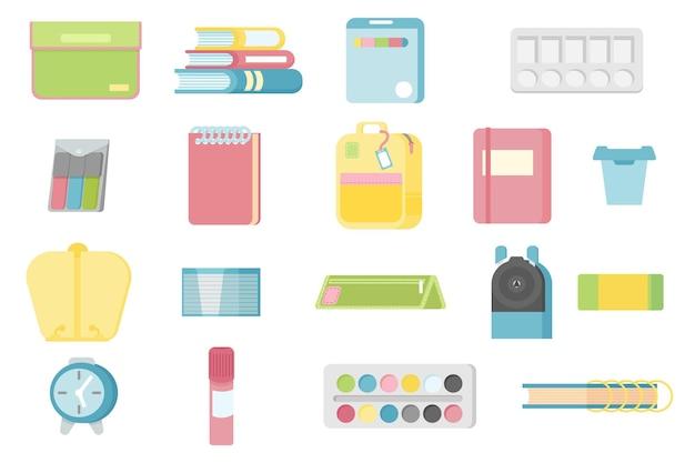Ensemble de fournitures scolaires cartable horloge colle dossier aquarelles bouteille d'eau bloc-notes papier à lettres