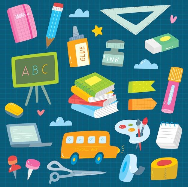 Ensemble de fournitures scolaires doodle