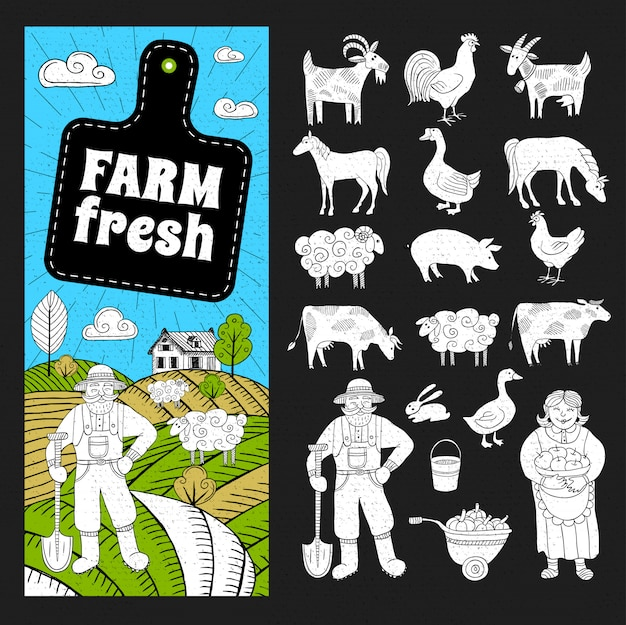 Ensemble frais de la ferme
