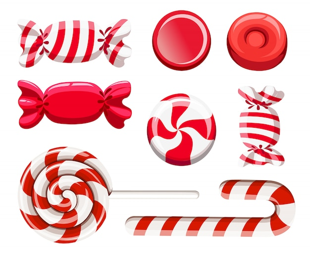 Ensemble de friandises rouges. bonbon dur, canne à sucre, sucette. candys dans un emballage. illustration sur fond blanc. page du site web et application mobile
