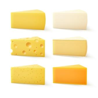 Ensemble de fromage cheddar bri parmesan camembert