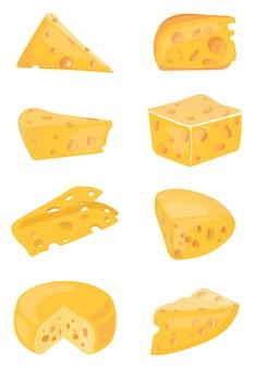 Ensemble de fromages. collection de fromages de dessin animé. laitier. illustration.