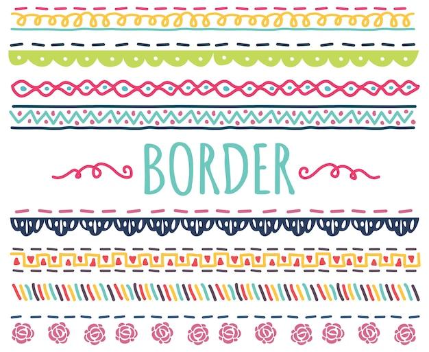 Ensemble de frontière coloré dessinés à la main