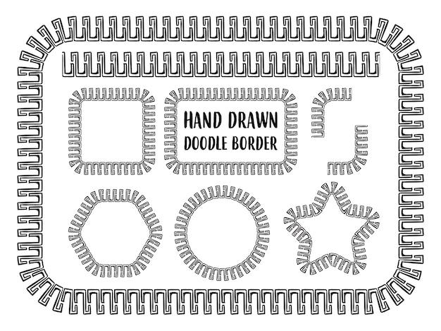 Ensemble de frontière de doodle dessinés à la main