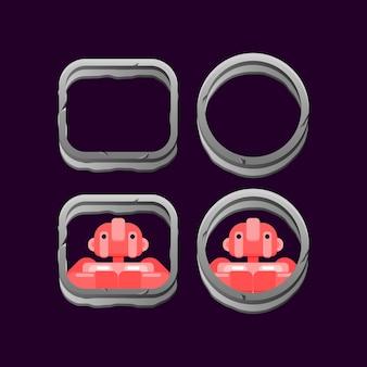 Ensemble de frontière de roche de pierre d'interface utilisateur de jeu avec aperçu d'avatar de personnage