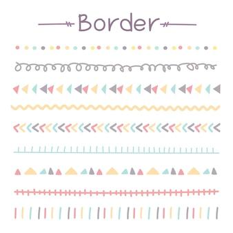 Ensemble de frontières colorées doodle