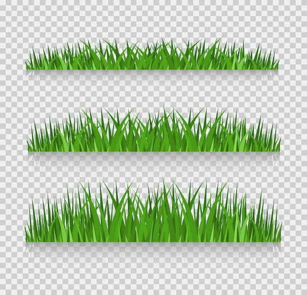 Ensemble de frontières d'herbe, illustration vectorielle