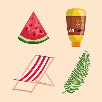 Ensemble de fruit de la pastèque avec la crème solaire et la chaise de bronzage avec la feuille
