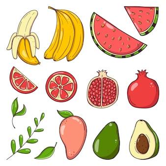 Ensemble de fruits et de baies dessinés à la main.