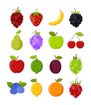 Ensemble de fruits colorés