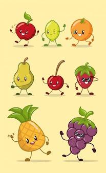 Ensemble de fruits couleurs kawaii heureux