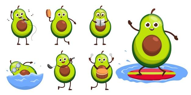 Ensemble de fruits dans le personnage de mascotte de dessin animé, avocat mignon dans l'activité et l'équipement de différence, illustration de conception plate