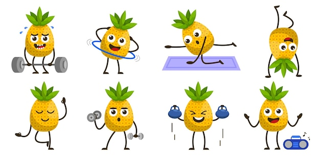 Ensemble de fruits dans le personnage de mascotte de dessin animé