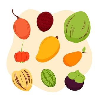 Ensemble de fruits délicieux illustration dessinée à la main