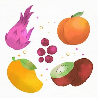 Ensemble de fruits délicieux peints à la main