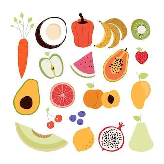 Ensemble de fruits délicieux plat