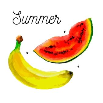 Ensemble de fruits - dessin aquarelle de bananes pastèque
