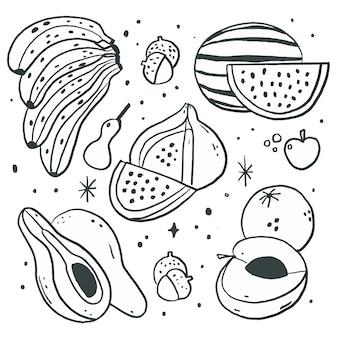 Ensemble de fruits dessinés à la main de gravure