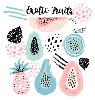 Ensemble de fruits dessinés à la main