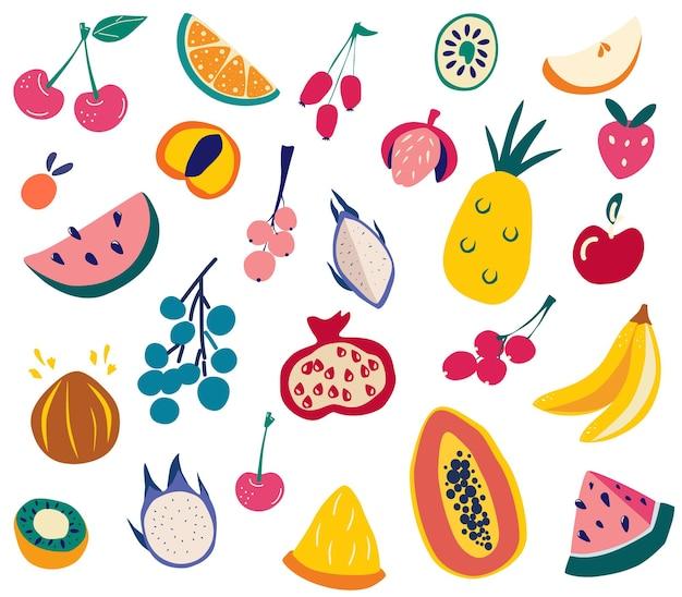 Ensemble de fruits. doodle fruits différents frais et savoureux. grande collection de fruits tropicaux naturels. menu végétalien, nourriture saine. cuisine biologique fraîche. illustration vectorielle de style dessin animé dessinés à la main.