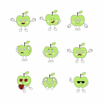 Un ensemble de fruits avec des émotions sur le visage. pommes-émoticônes drôles. émoticônes et autocollants avec un motif apple . personnage de dessin animé de vecteur pour les enfants.