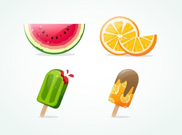 Ensemble de fruits d'été et de glaces