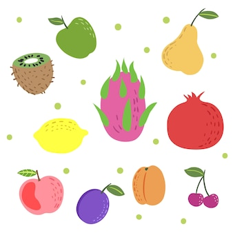 Ensemble de fruits exotiques colorés dessinés à la main. doodle style enfantin. pomme, kiwi, fruit du dragon, grenade, abricot, cerise, prune. illustrations vectorielles d'aliments biologiques.