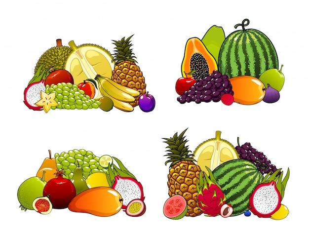 Ensemble de fruits de ferme exotiques