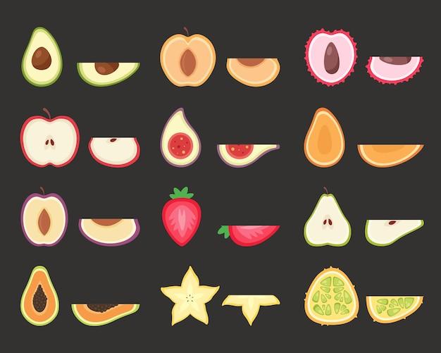 Ensemble de fruits. fruits tropicaux et exotiques