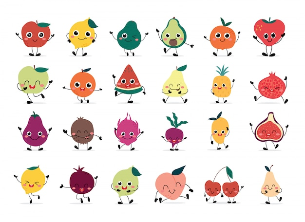 Ensemble de fruits heureux mignons dessinés à la main