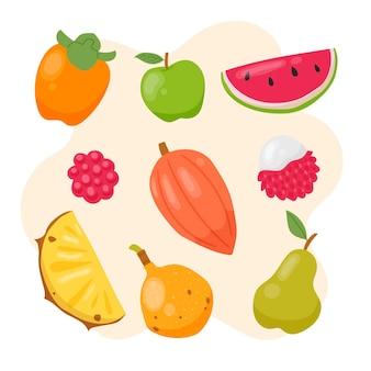 Ensemble de fruits illustration dessinés à la main